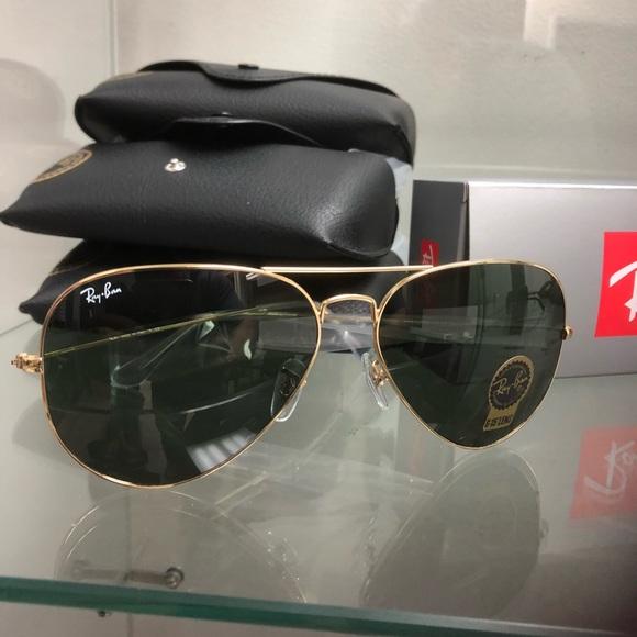 Accessories   Rayban Aviators Gold Frames G15 Lens 62mm   Poshmark 912425252e